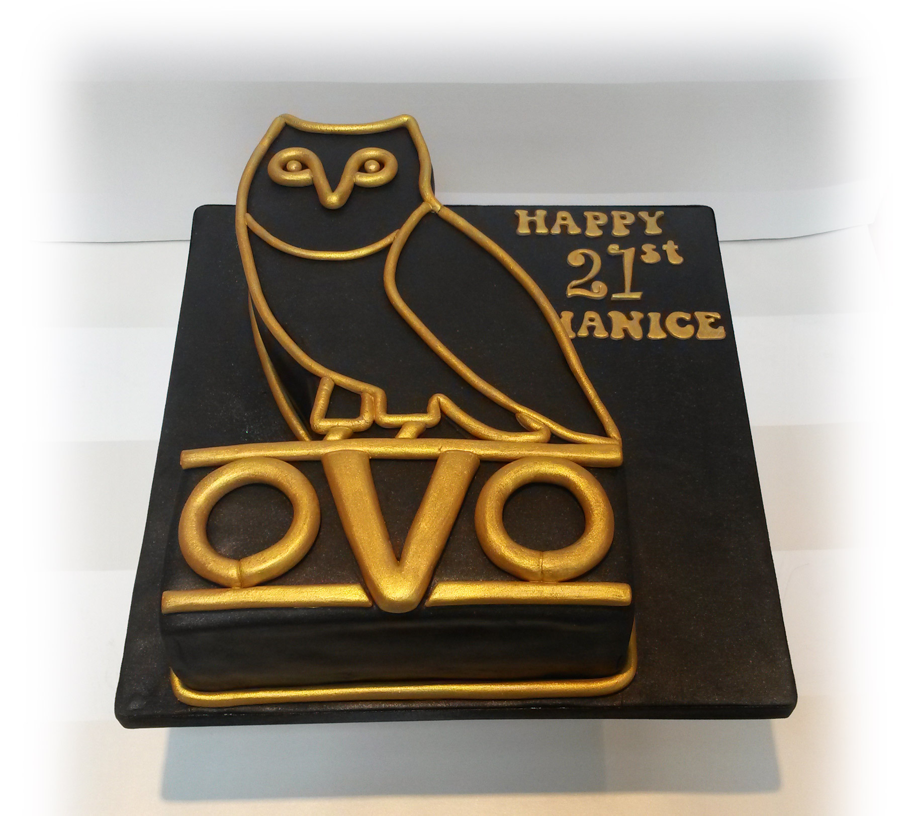 Drake themed cake with Owl logo Octobers Very Own Bakealous