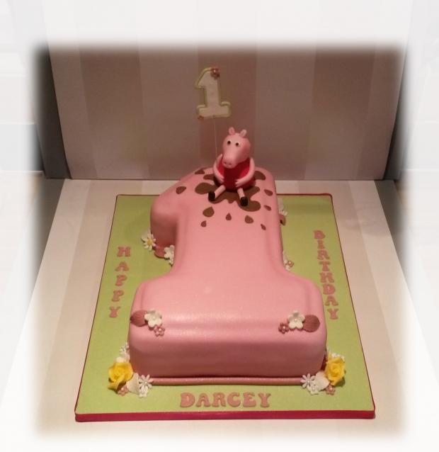 Peppa Pig Number One Birthday Cake Bakealous