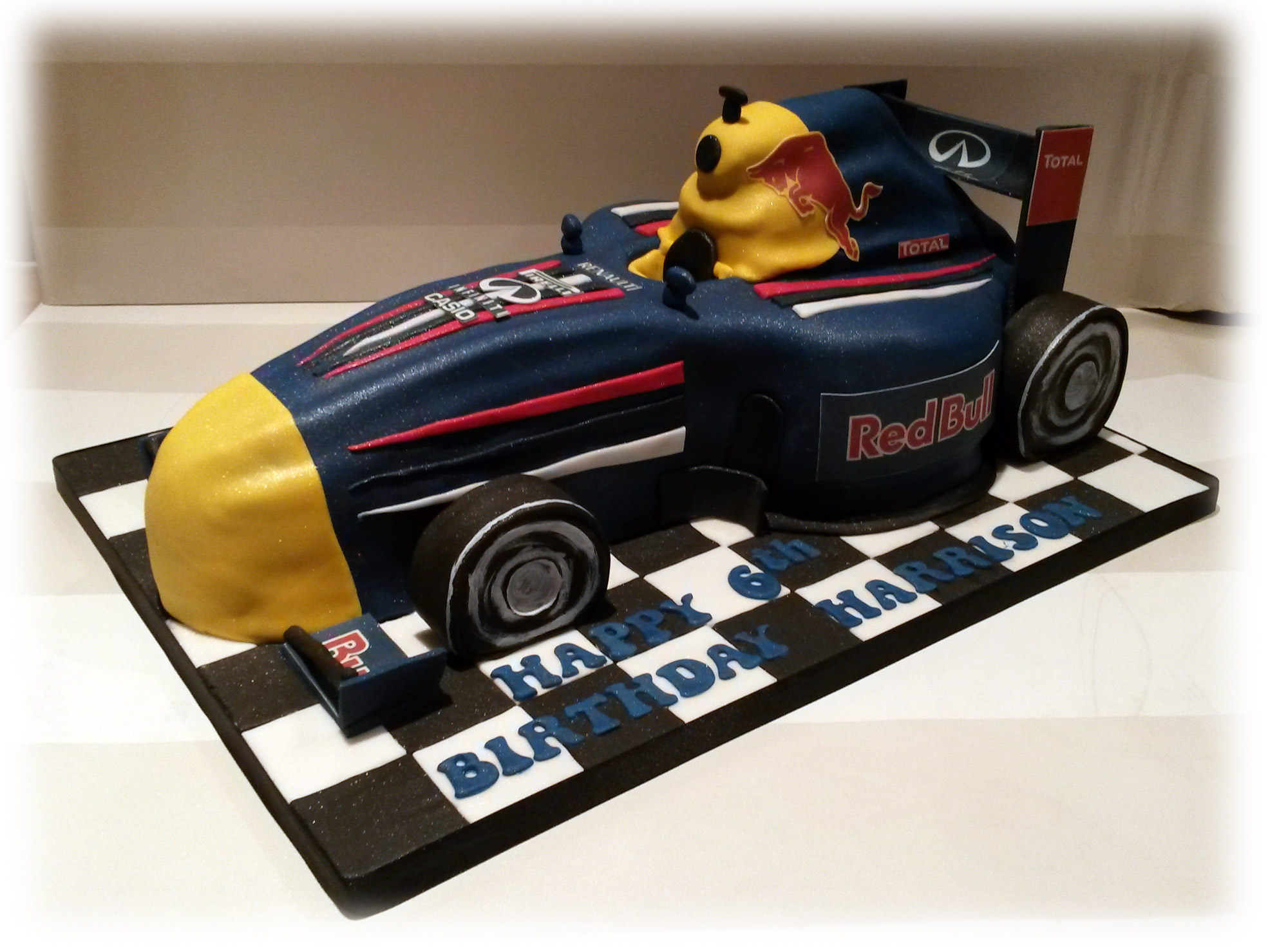 Image of f1 racing car birthday cake ferrari f1 race car for F1 car cake template