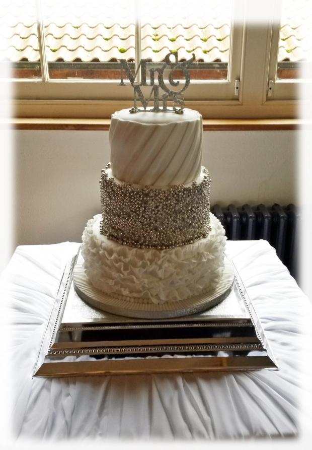 3 Tier Silver Cluster Wedding Cake