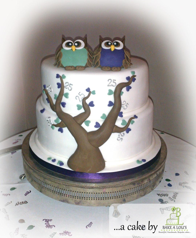 Owl themed 25th Wedding Anniversary Cake - Bakealous