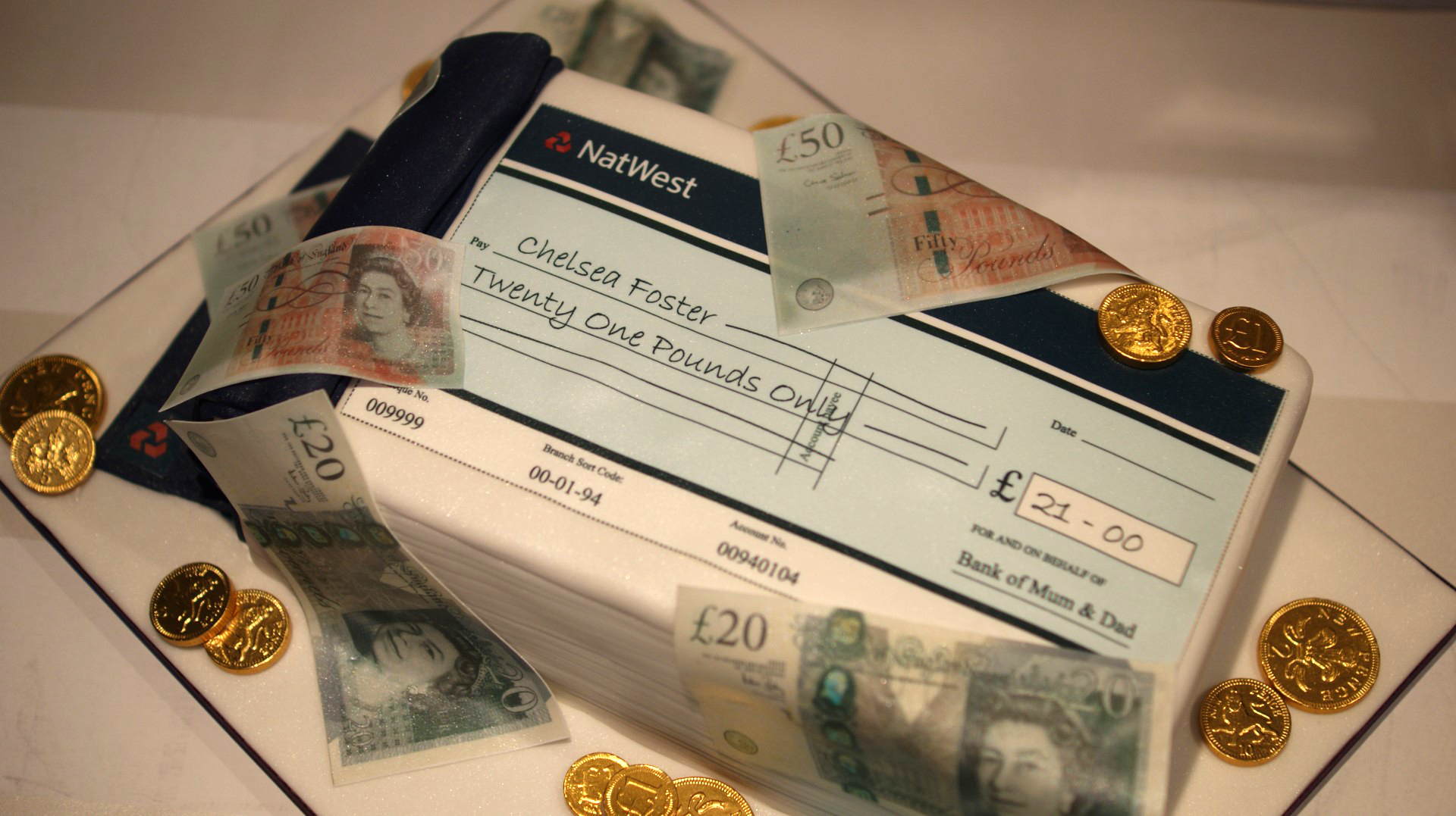 Cheque Book and Money Birthday Cake Bakealous
