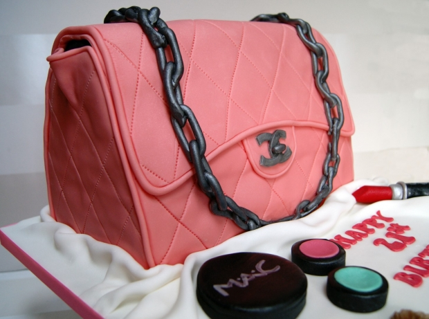 5ca5f4fbd3ed Pink Chanel Handbag Cake - Bakealous