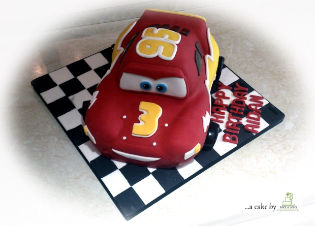 Magnificent Disney 3D Car Birthday Cake Bakealous Personalised Birthday Cards Veneteletsinfo