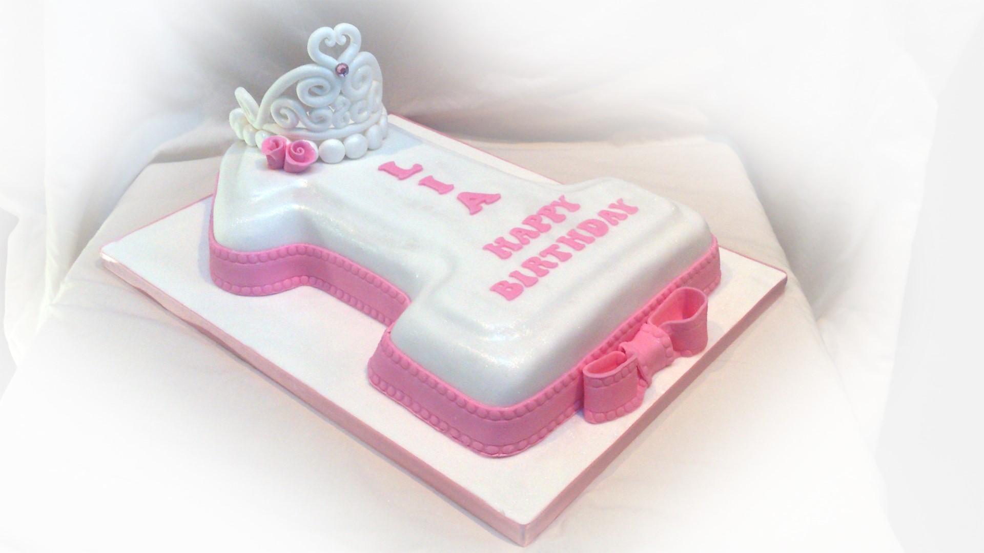 Excellent Number 1 Birthday Cake Pink Bakealous Personalised Birthday Cards Beptaeletsinfo