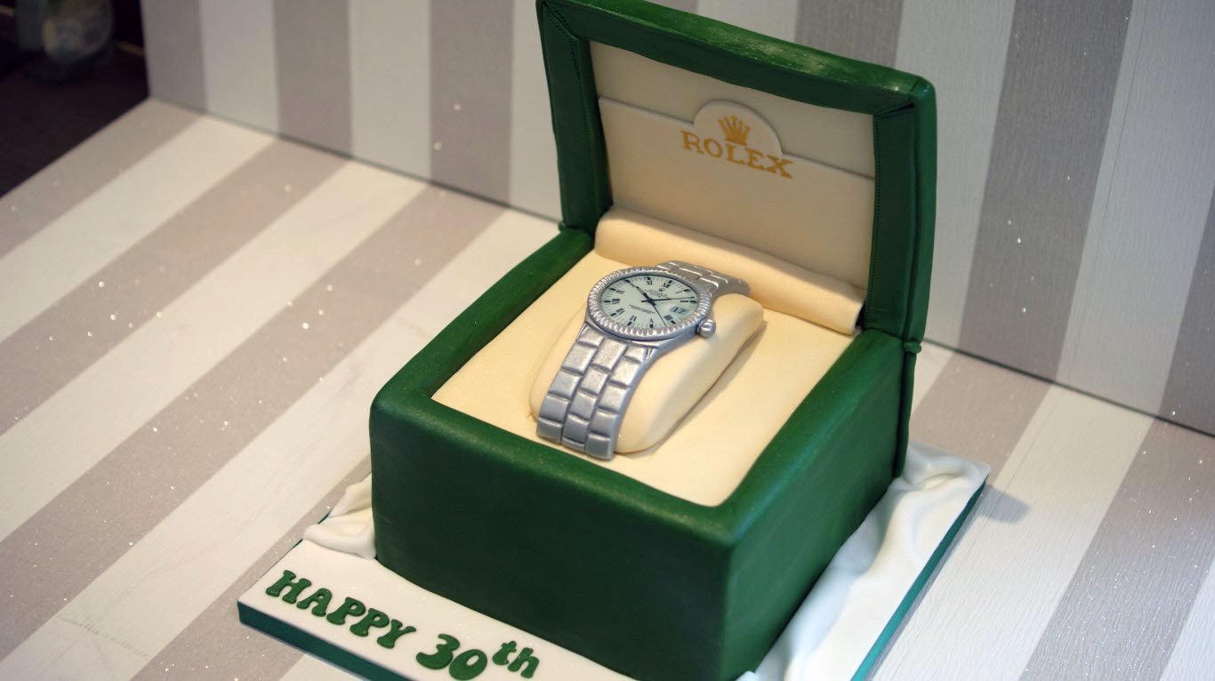 Phenomenal Rolex Watch Cake Bakealous Personalised Birthday Cards Arneslily Jamesorg
