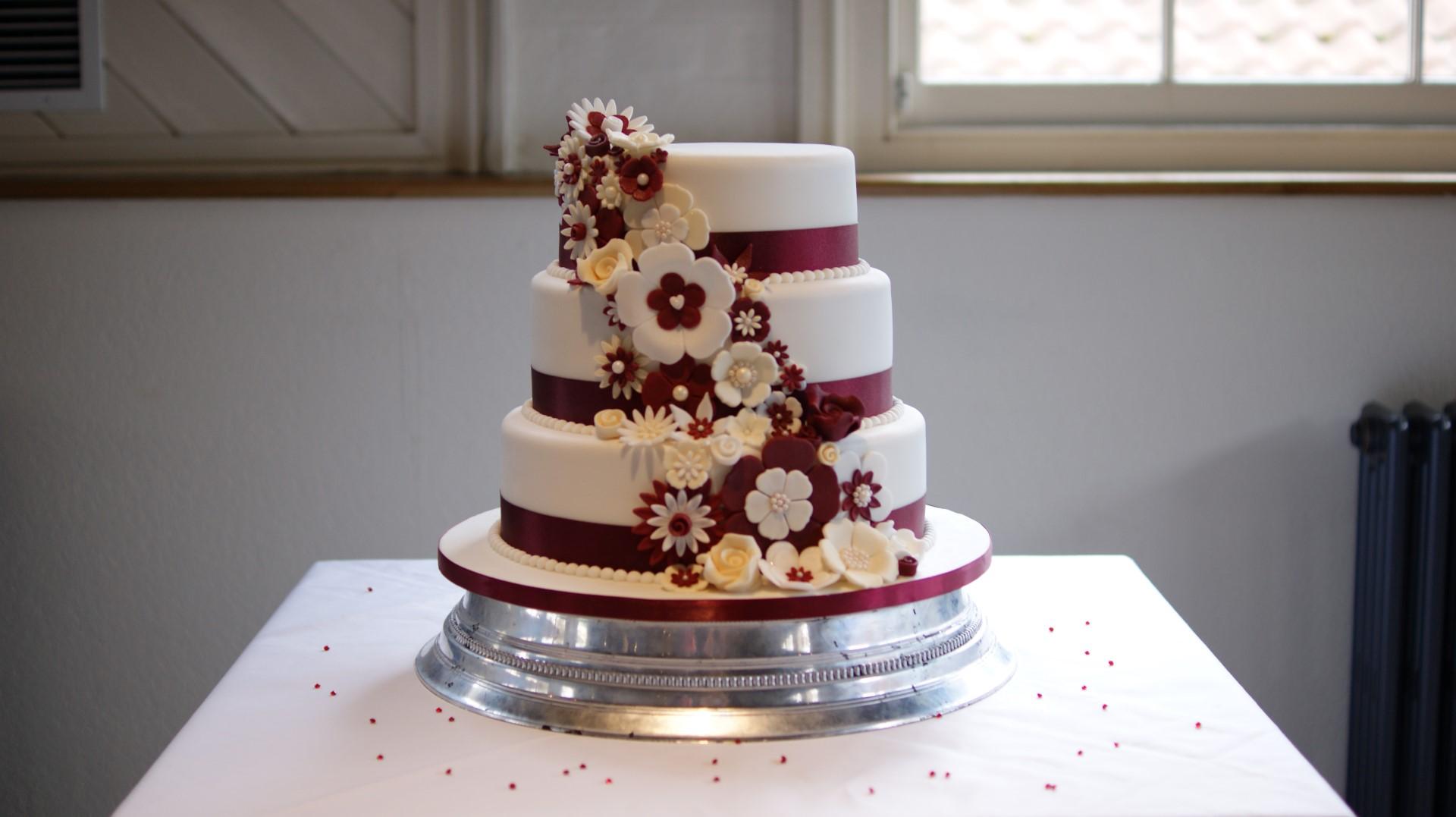Disney 3 Tier Wedding Cake Draped Floral Design 2 Bakealous