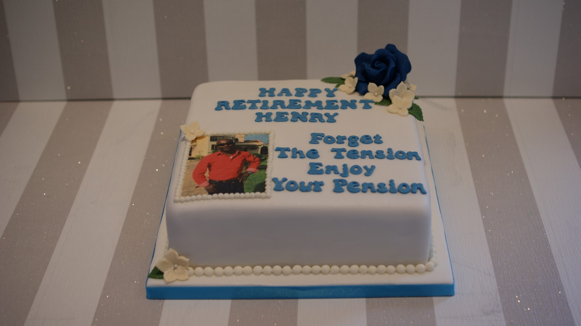 Personalised Birthday Cake With Photograph Forget The Tension Enjoy Your Pension 2