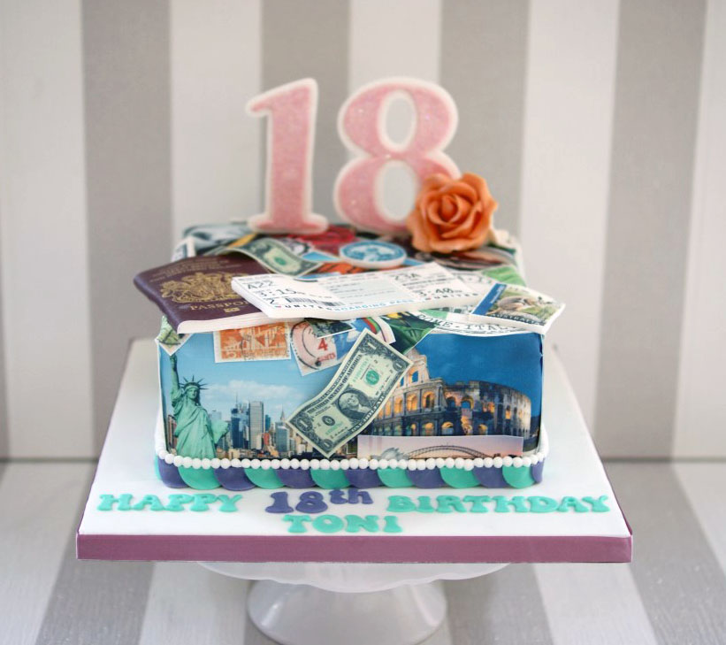 Printed Travel Inspired 18th Birthday Cake