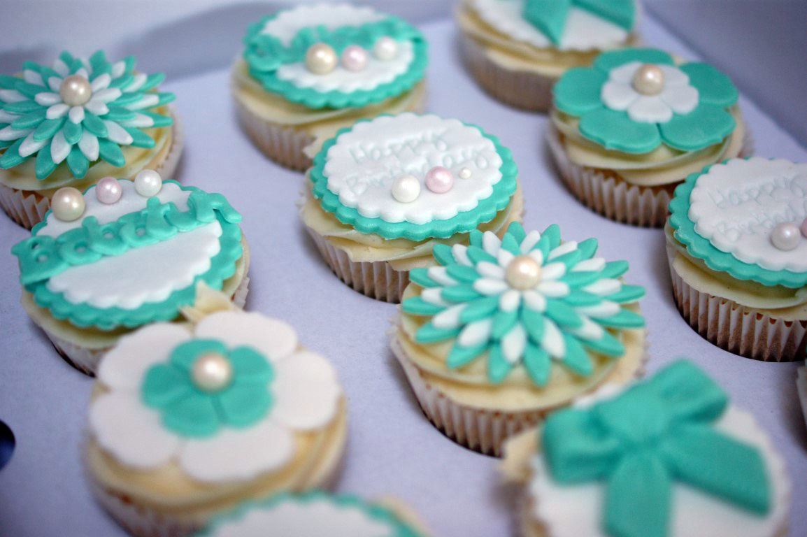 Tiffany Blue Birthday Cupcakes