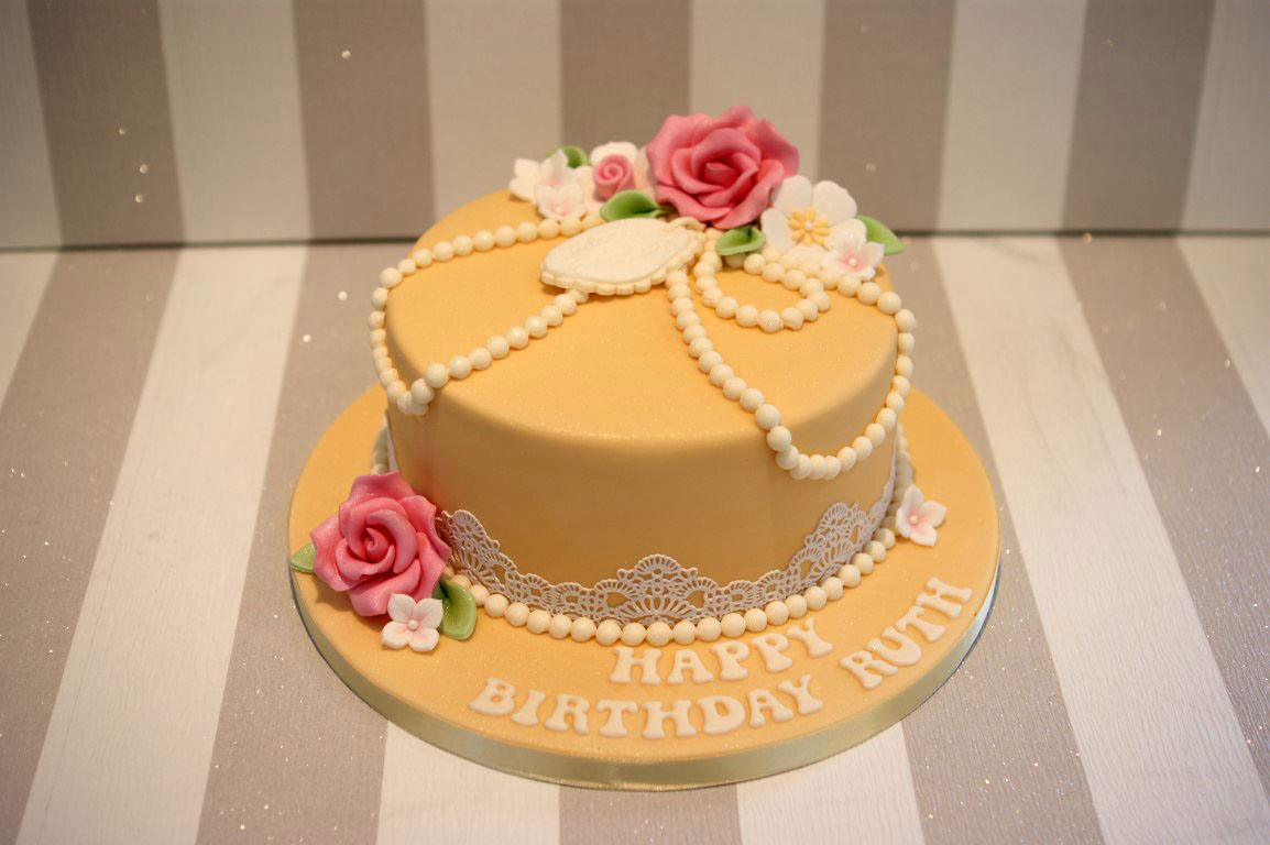Vintage Pearl And Lace Birthday Cake Bakealous