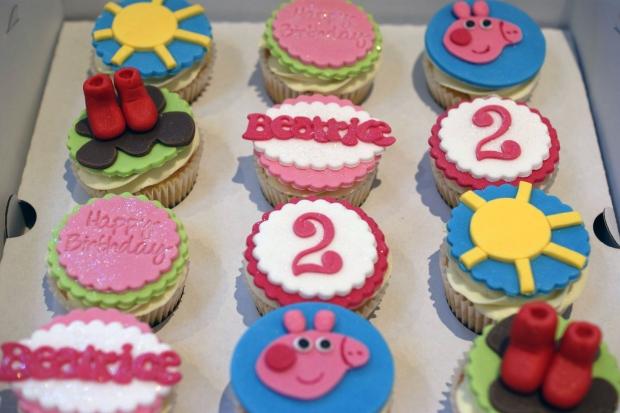 Miraculous Peppa Pig 2Nd Birthday Cake With Cupcakes Bakealous Funny Birthday Cards Online Benoljebrpdamsfinfo