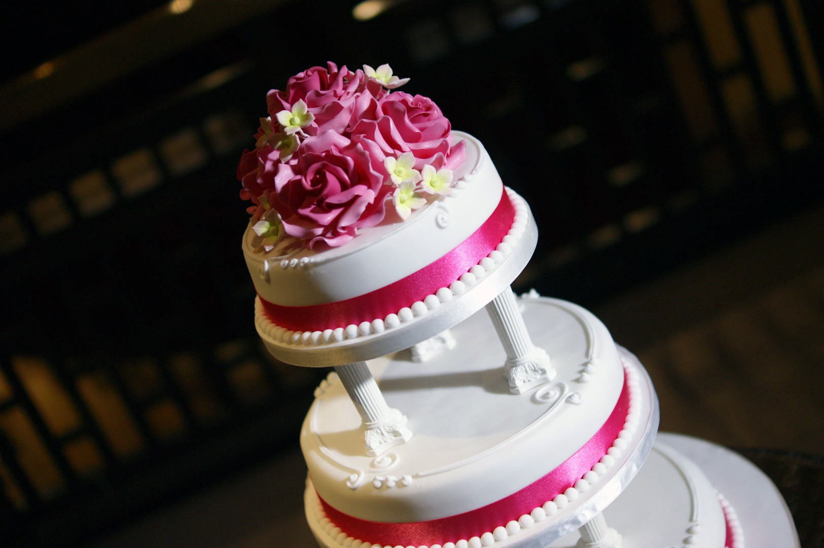 Rose Cer Tiered Wedding Cake With Pillars
