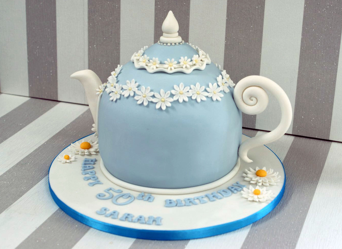 Vintage Tea Pot 50th Birthday Cake With Cupcakes Bakealous