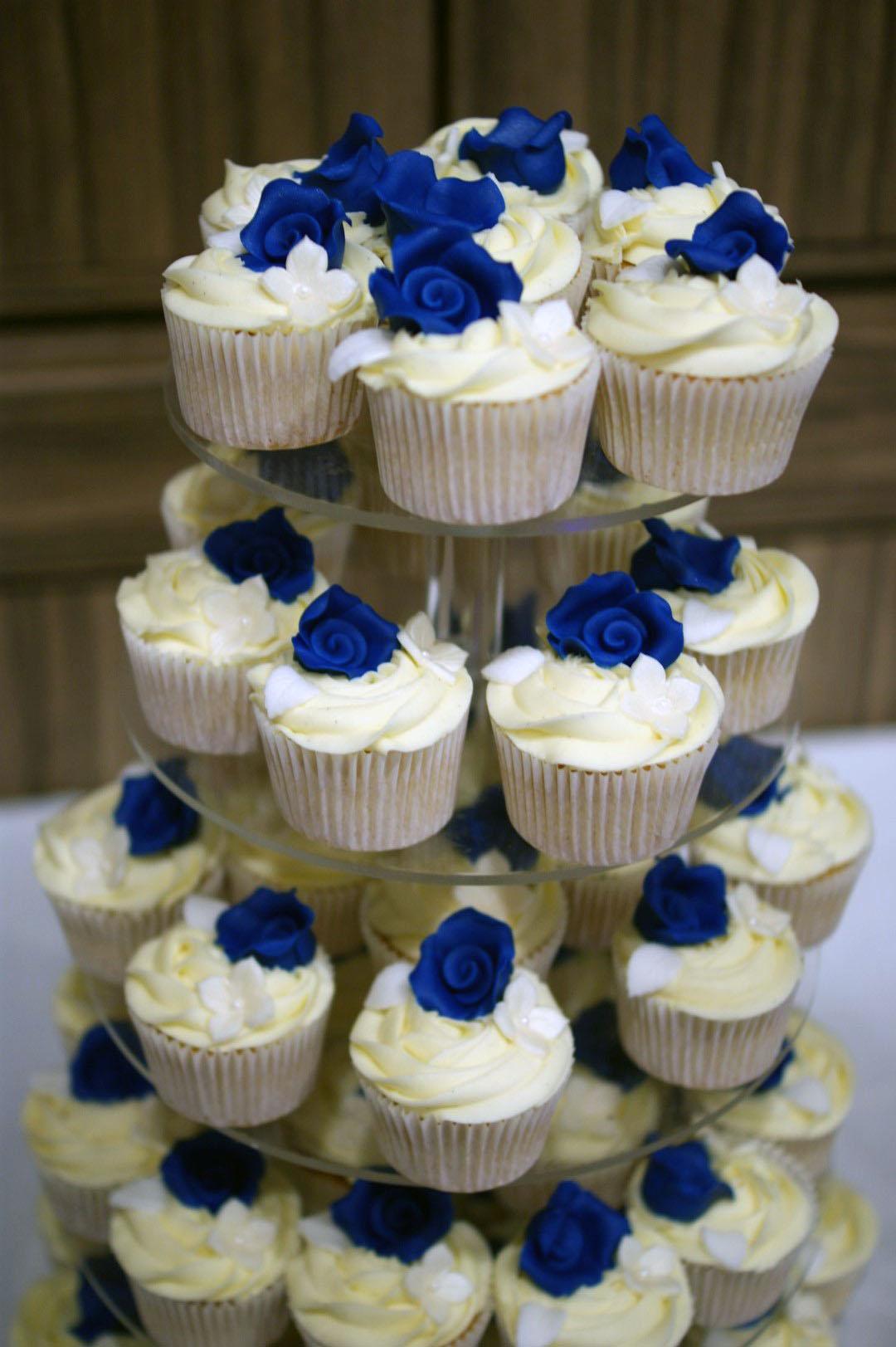 3 Tier Wedding Cake with Cupcake Tower - Bakealous