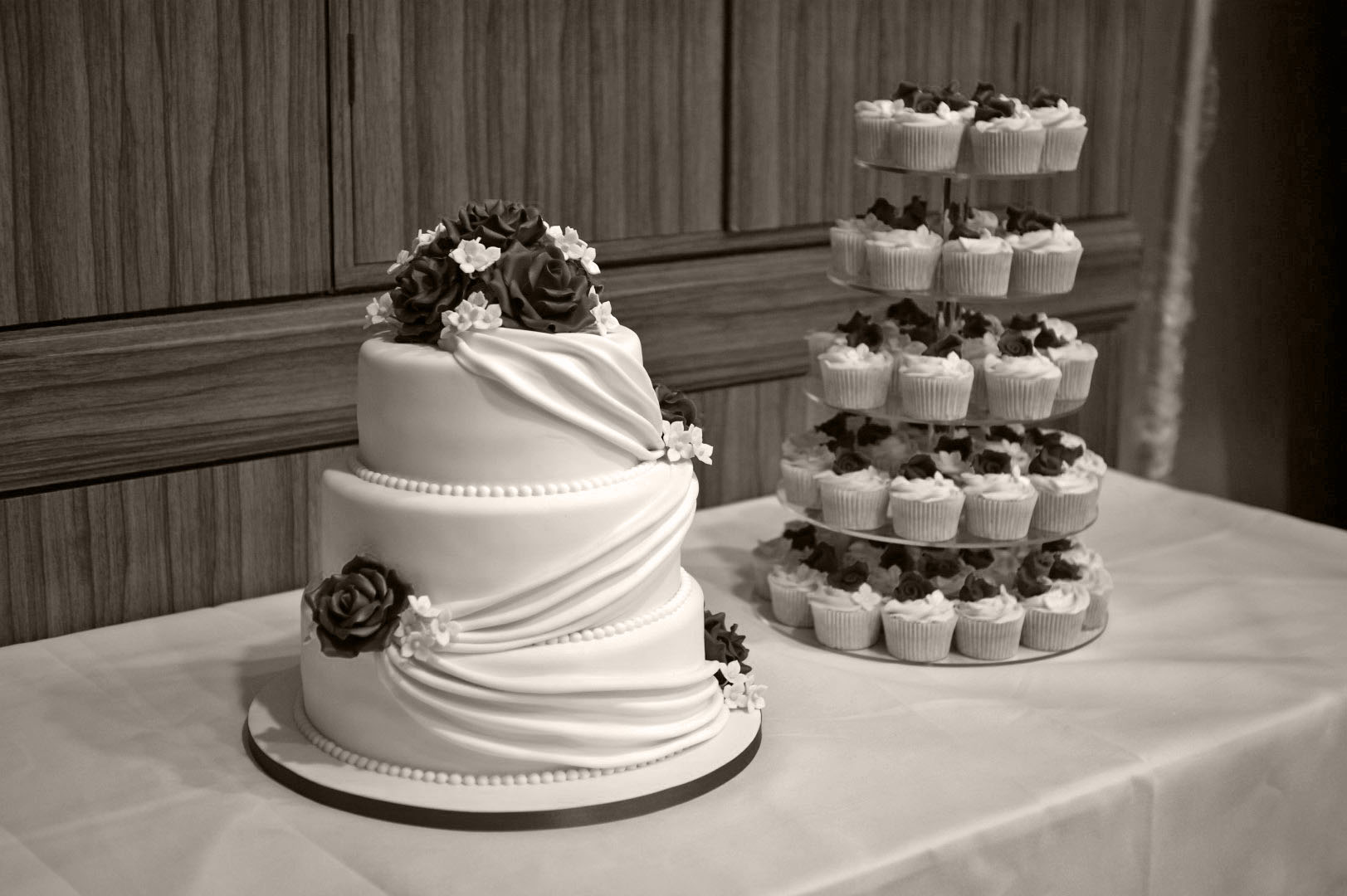 3 Tier Wedding Cake with Cupcake Tower Bakealous