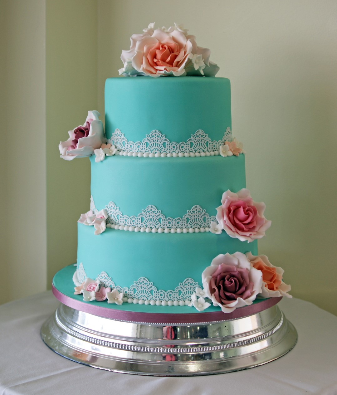 3 Tier Vintage Lace Wedding Cake Bakealous