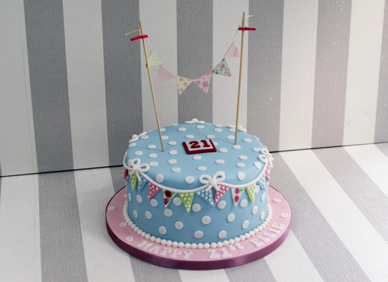 Cath Kidston Style 21st Birthday Cake Bakealous