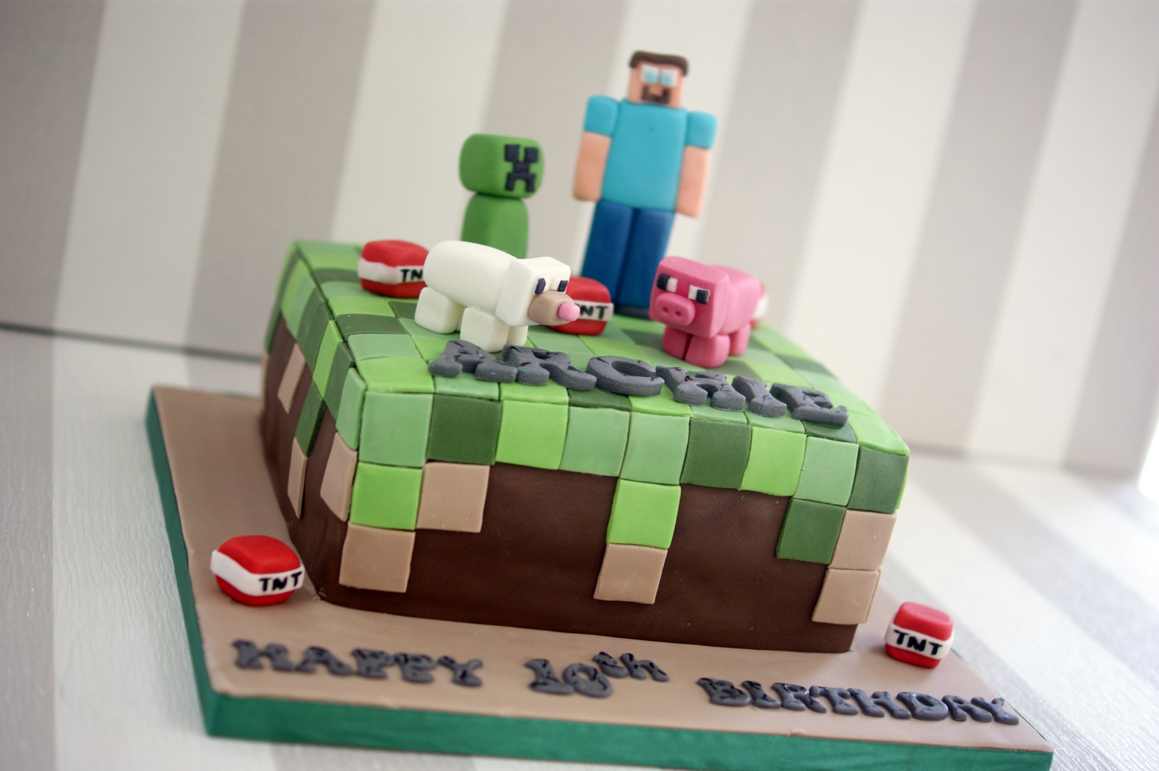 Minecraft 10th Birthday Cake 4 Large Bakealous