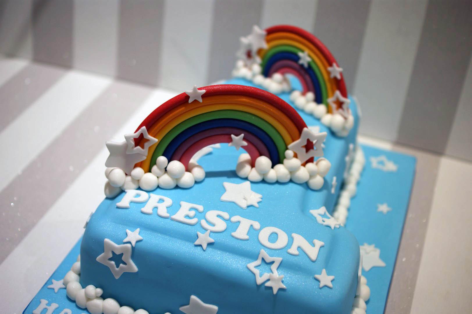 Rainbow Themed 1st Birthday Cake Bakealous