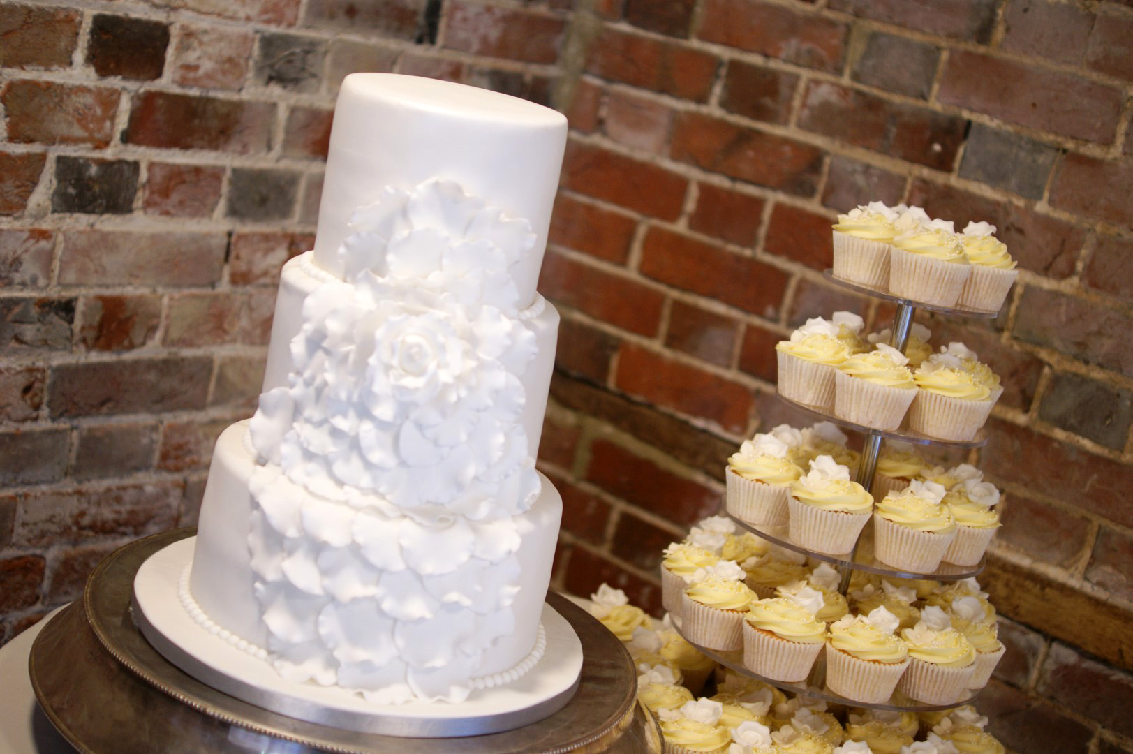 White Floral 3 Tier Wedding Cake with Cupcake Tower