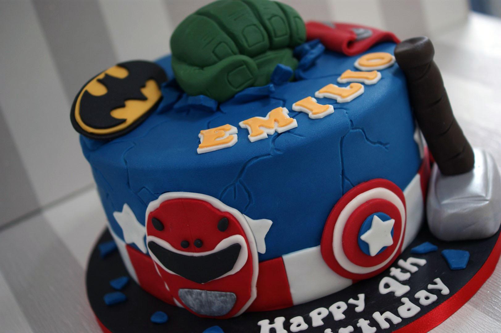 Marvelous Power Rangers Avengers Birthday Cake Bakealous Personalised Birthday Cards Veneteletsinfo