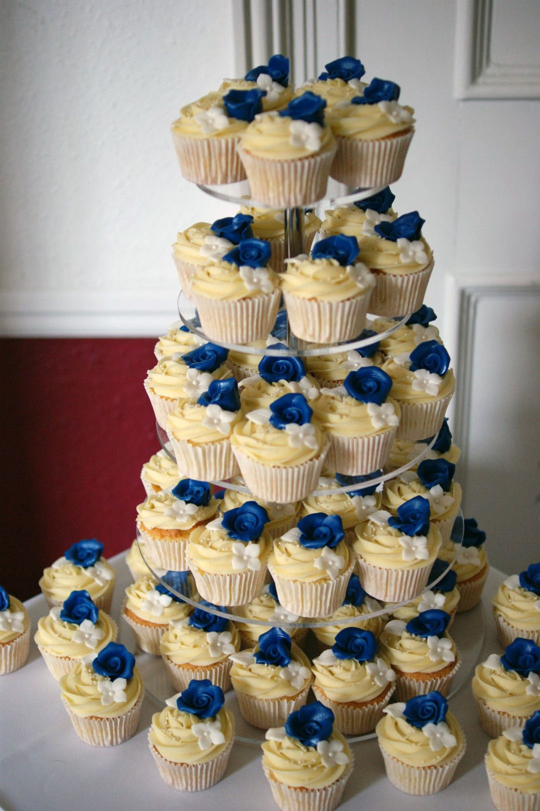 Gold And Royal Blue Wedding Cake
