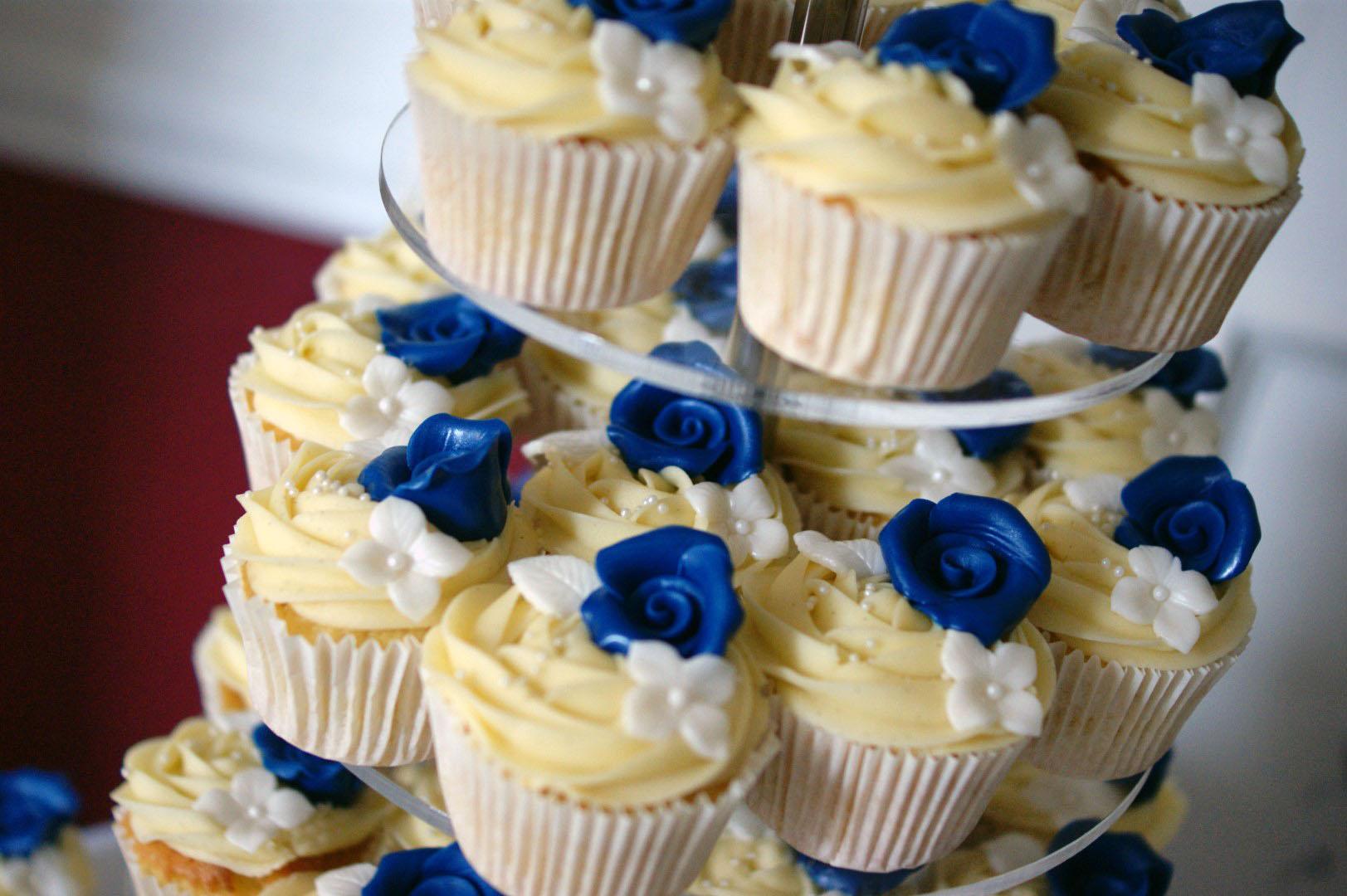 Royal Blue Flower Stamp 3 Tier Wedding Cake Bakealous