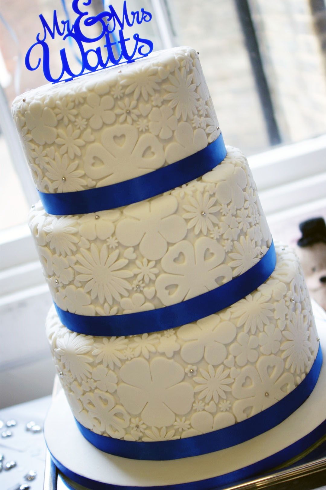 Royal Blue Flower Stamp 3 Tier Wedding Cake Bakealous