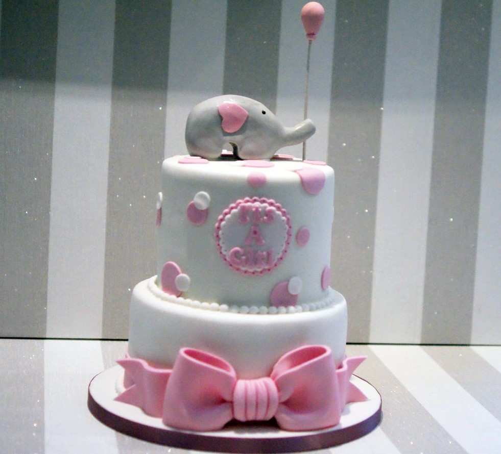 2 Tier Baby Shower Cakes Part - 21: 2-tier-elephant-baby-shower-cake ...