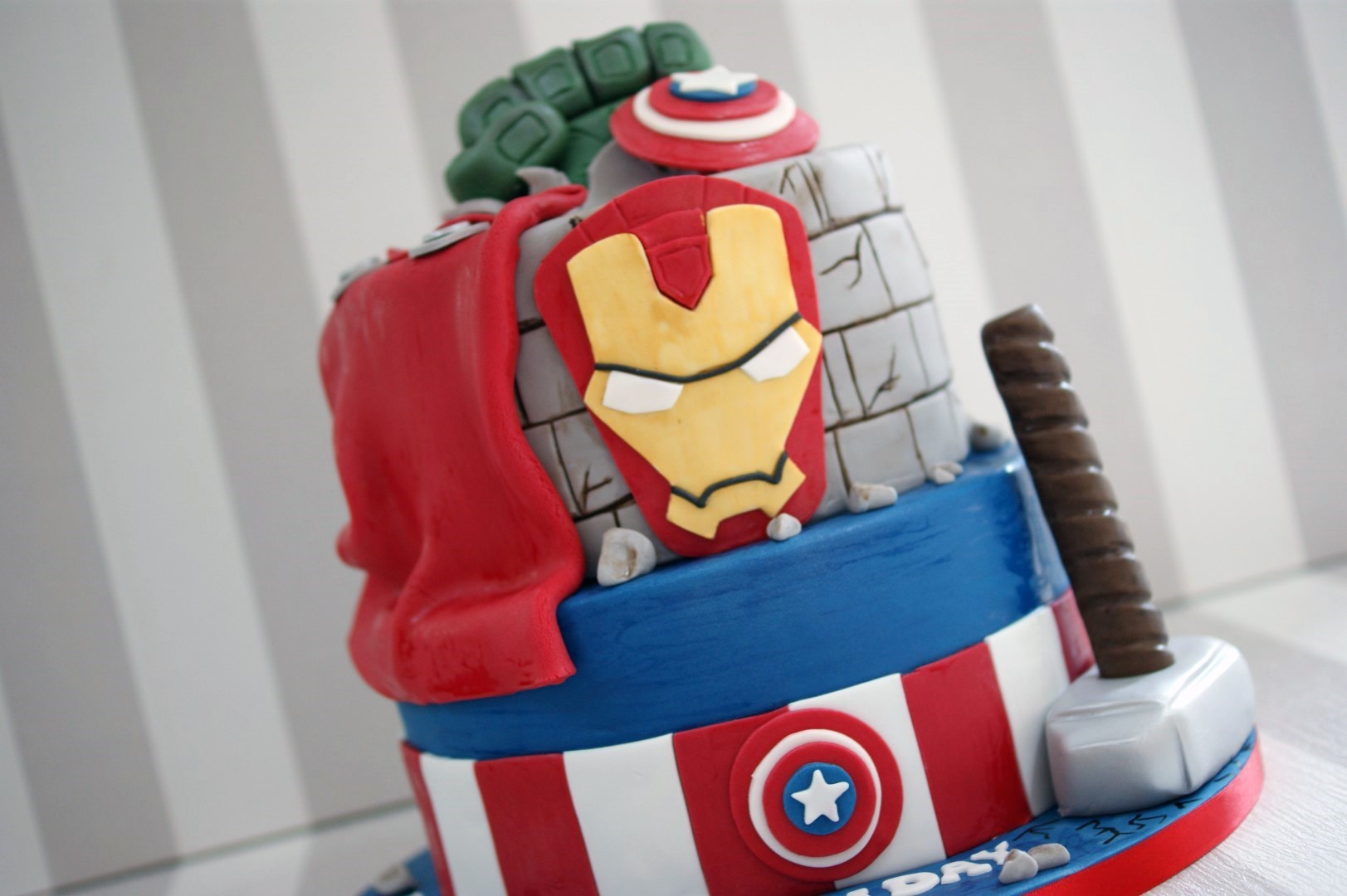 Magnificent 2 Tier Marvel Avengers Birthday Cake Bakealous Funny Birthday Cards Online Alyptdamsfinfo