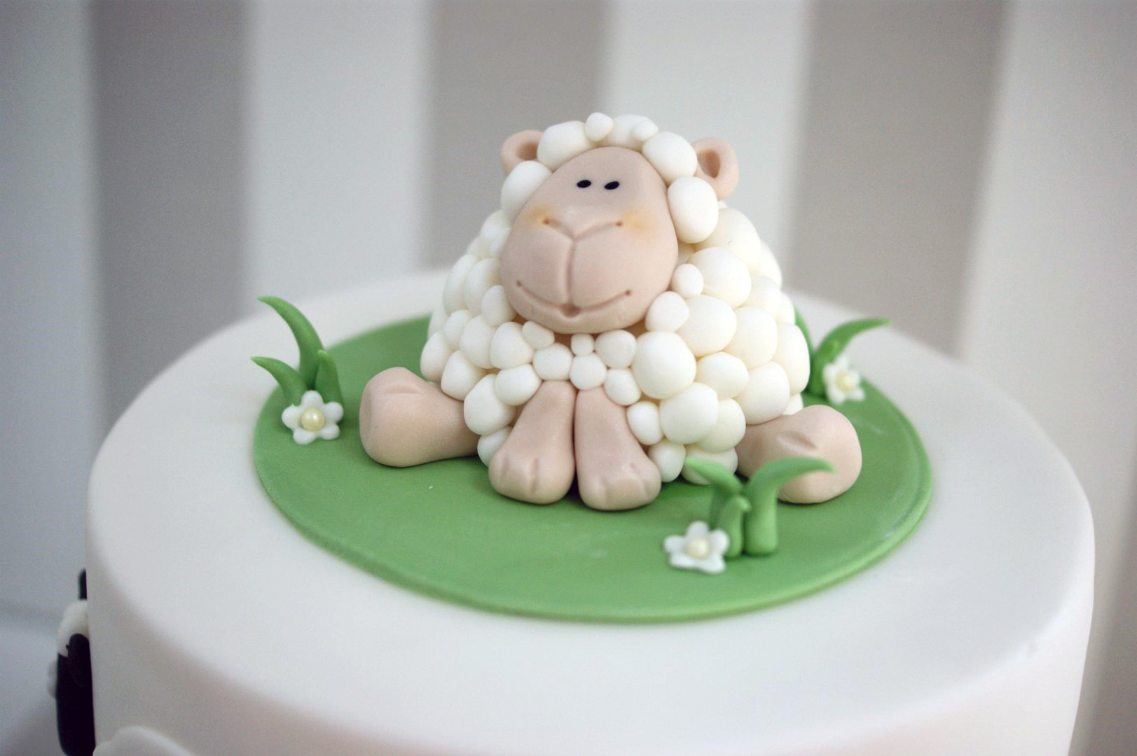 Cool 2 Tier Sheep Christening Cake 3 Bakealous Funny Birthday Cards Online Benoljebrpdamsfinfo
