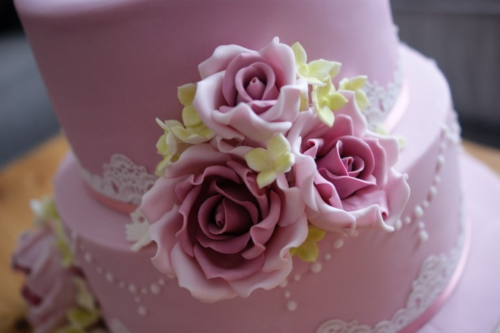 80th Birthday Cake Pink Rose