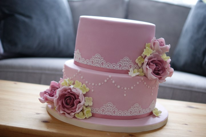 80th Birthday Cake Pink Rose 3