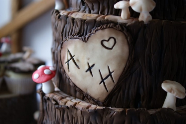 woodland-theme-wedding-cake-tree-stump-with-cupcakes (8)