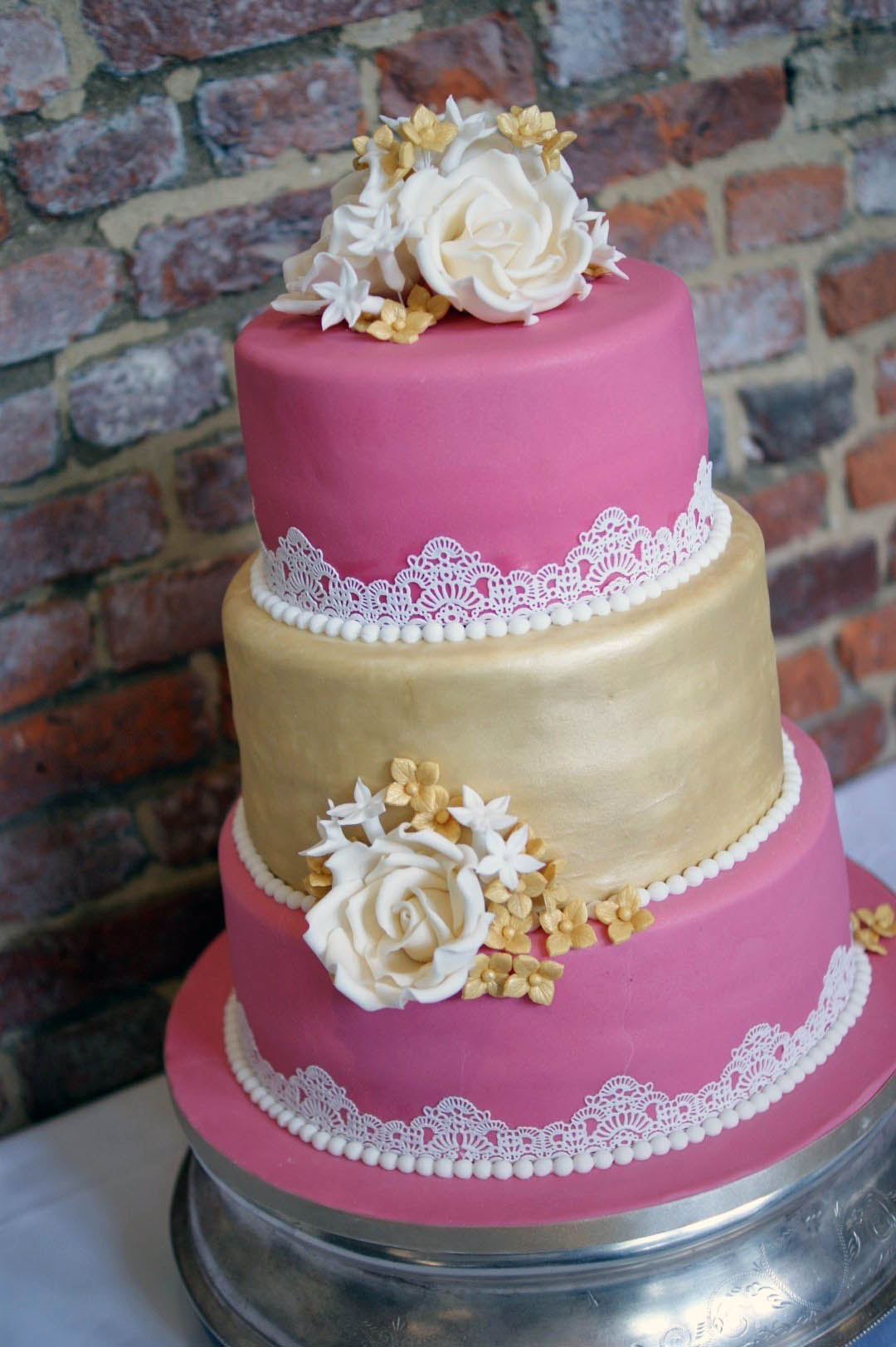 Pink and Gold Lace Wedding Cake - Bakealous