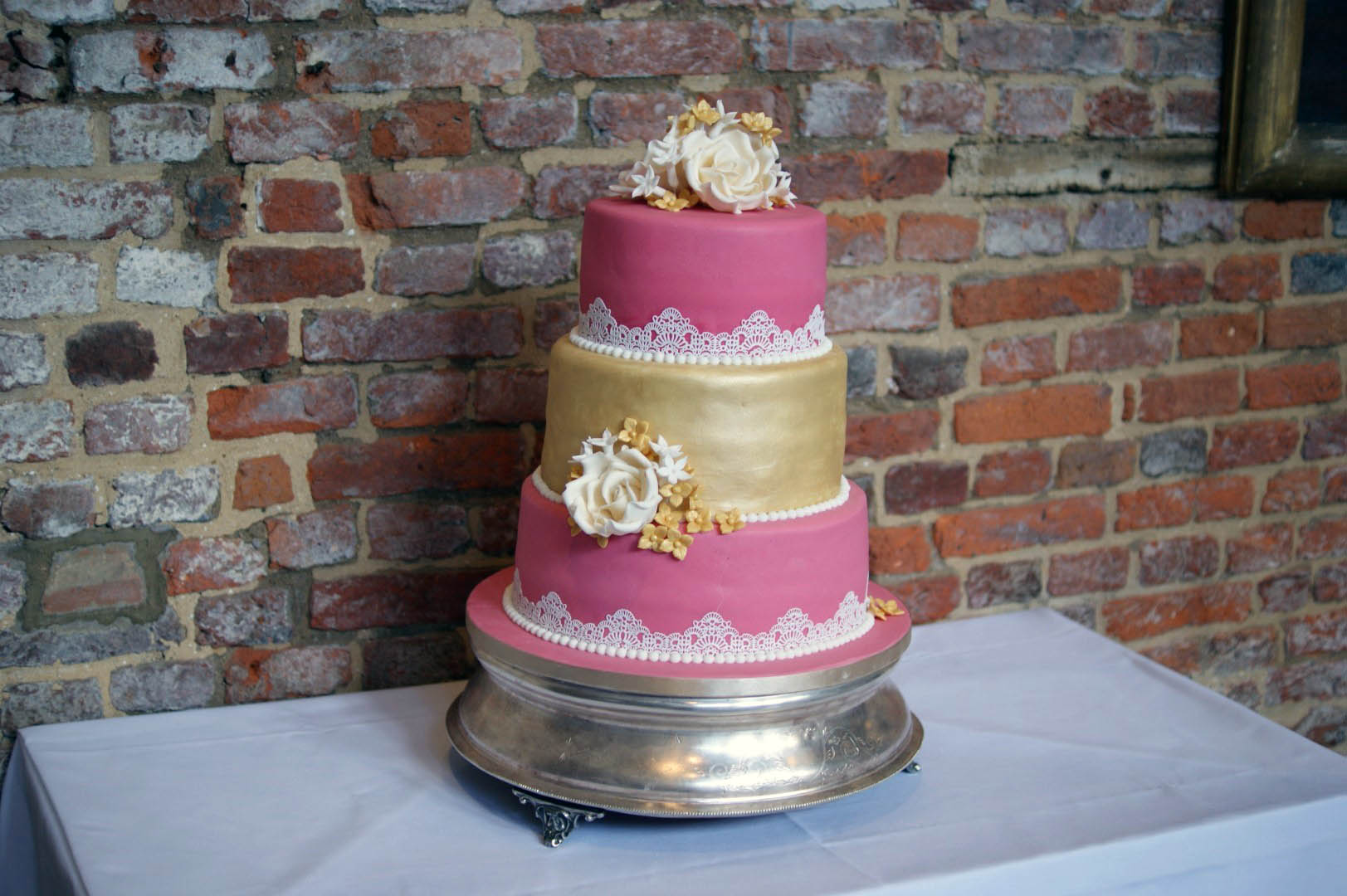 3 Tier Pink And Gold Lace Wedding Cake 5 Bakealous