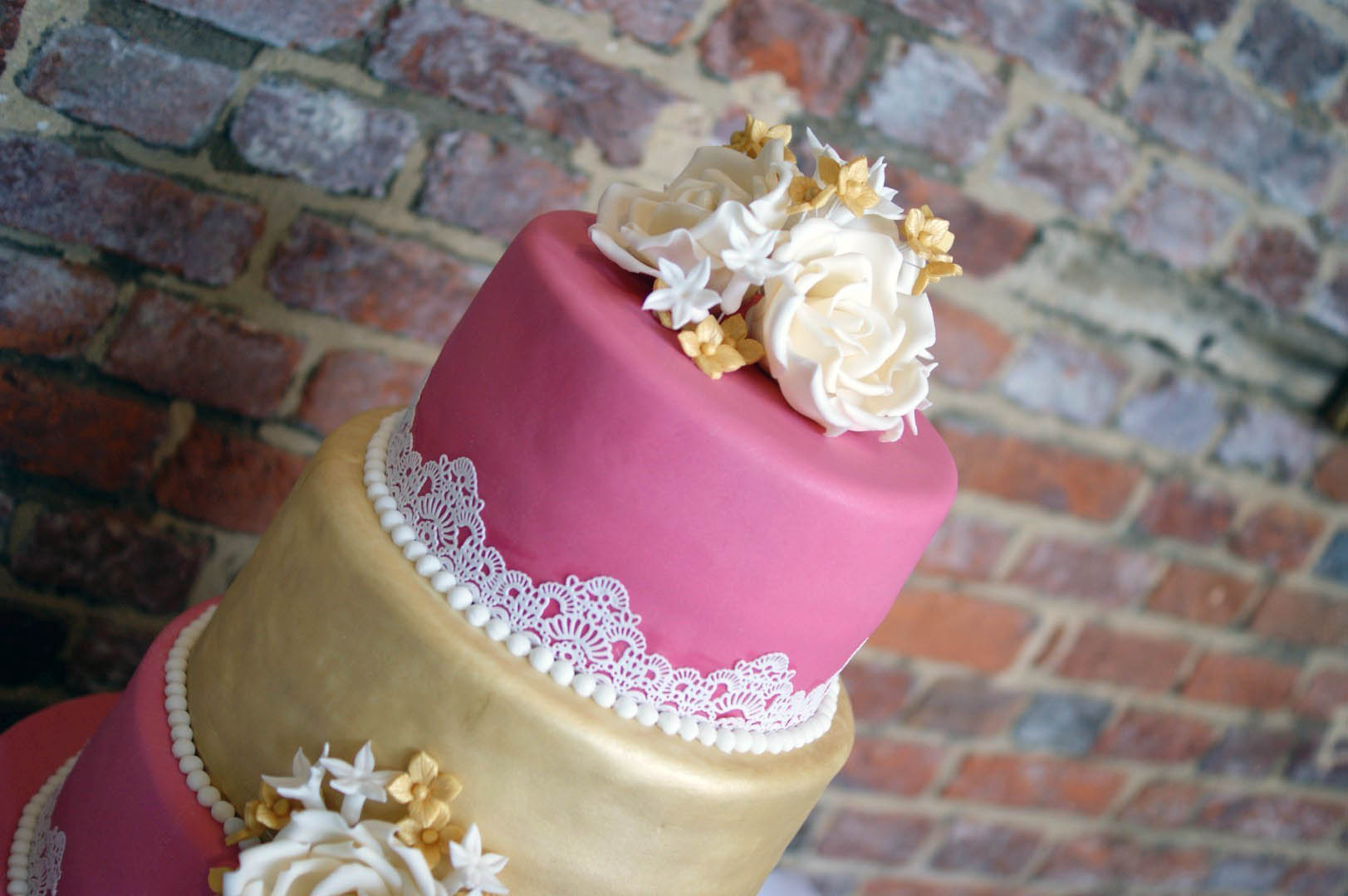 3-tier-pink-and-gold-lace-wedding-cake (8) - Bakealous