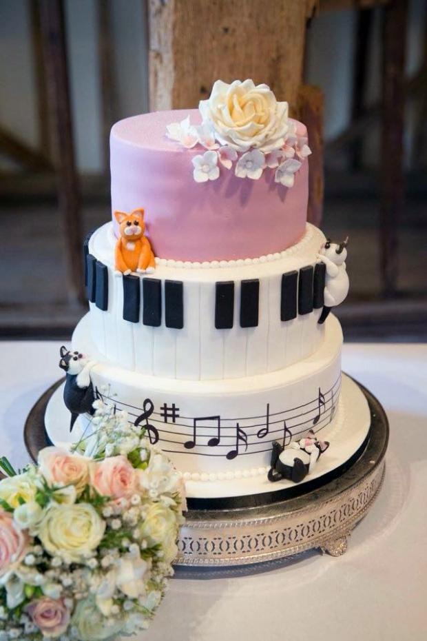Musical And Cat Themed Wedding Cake Bakealous