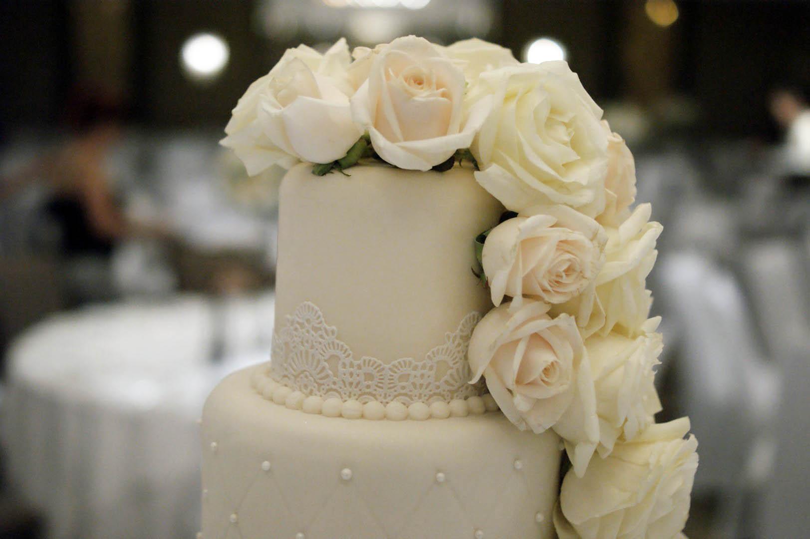 6 Tier Wedding Cake White Iced Fresh