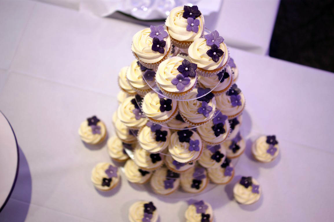 Purple Rose Cascade Wedding Cake Bakealous