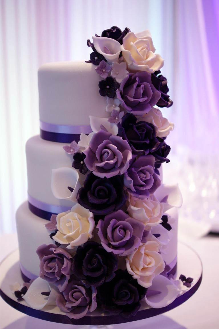 Black White And Purple Wedding Cakes
