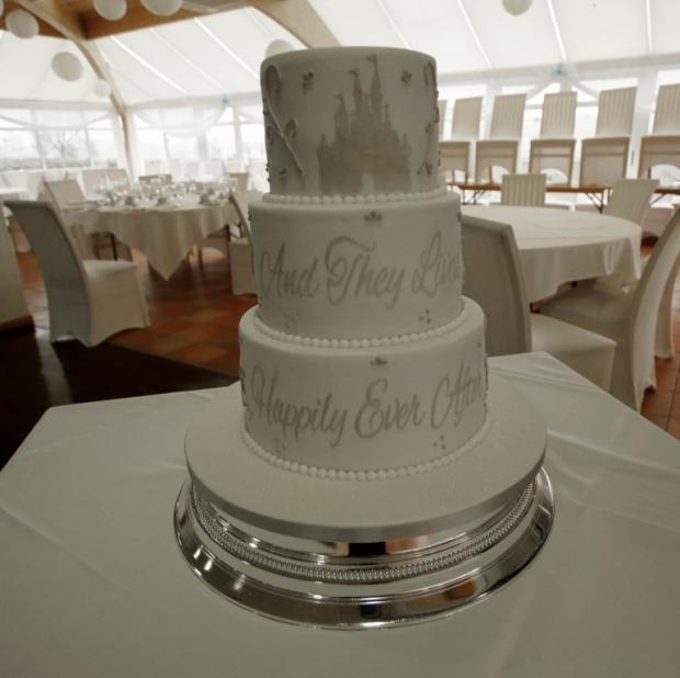 Disney Castle stencil phrase Wedding cake
