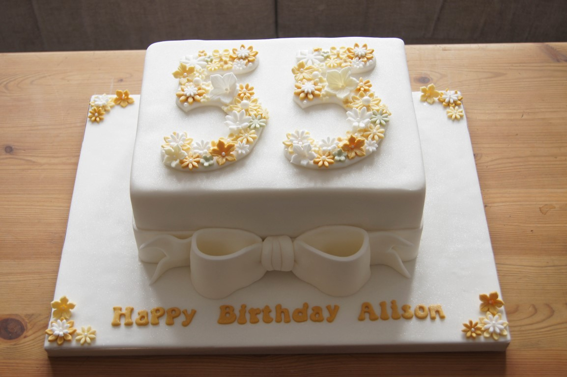 Admirable Floral 55Th Birthday Cake Bakealous Funny Birthday Cards Online Inifofree Goldxyz