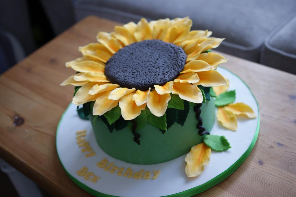 Remarkable Giant Sunflower Birthday Cake Bakealous Funny Birthday Cards Online Aboleapandamsfinfo