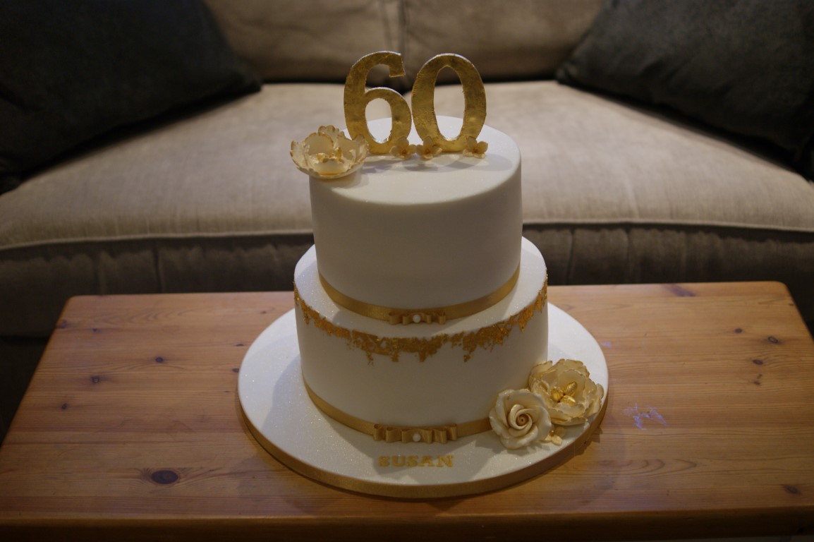 Gold Leaf 60th Birthday Cake Bakealous