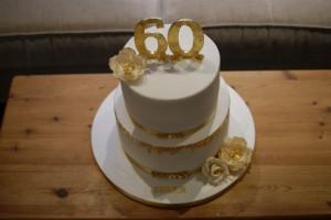 Gold Leaf 60th Birthday Cake