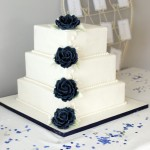 Navy Blue Rose & Calla Lily Square Wedding Cake