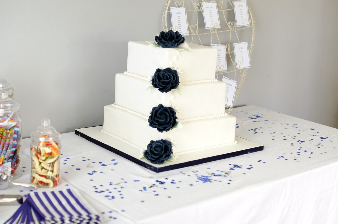 Navy Blue Rose Calla Lily Square Wedding Cake Bakealous