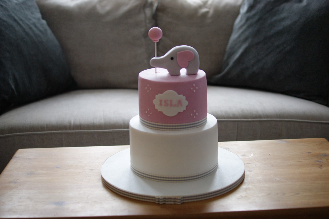 Pink Elephant Balloon Birthday Cake